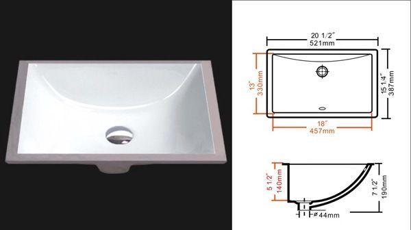 Agfl 1813 Undermount Ceramic Vanity Sink Rectangular White